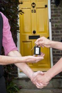 Front door with key